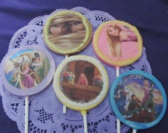 12 Rapunzel Tangled chocolate lollipops