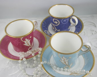 3 Sets of Wedgwood Demitasse Teacups & Saucers, Fine Bone China made in England.