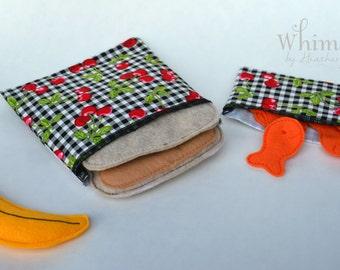 Cherry sandwich bags, Lunch set, reusable sandwich bag, reusable snack bag, ecofriendly lunch set