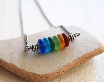 Rainbow Necklace, Oxidized Sterling Silver Rainbow Glass Necklace, Frosted Glass Rainbow Necklace, Handmade Necklace, Rainbow Jewelry