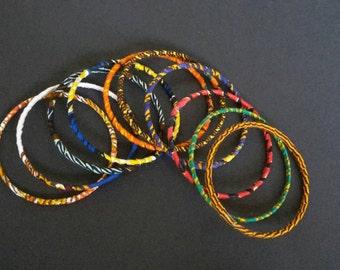 African Print  Ankara bangles - Set of 10