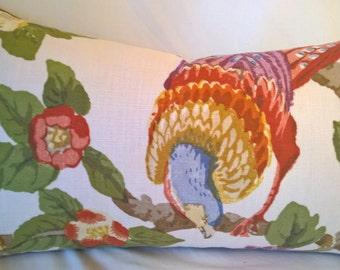 """Lee Jofa/GP & J Baker PERTELOTE Colorful Bird English Linen Lumbar Pillow 14""""x25"""" Throw Pillow Lumbar"""