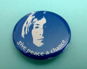 Vintage John Lennon Give Peace A Chance Pin Back Button Free Shipping