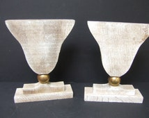 Pair of large vintage limed oak candle holders.