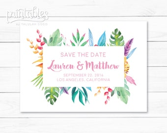 Tropical Save the Dates, Printable Save the Date Cards, Blush Pink Flowers, Flower Save-the-Date, Spring Wedding, DIY Save the Date Template