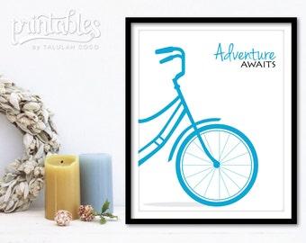 Adventure Awaits Sign - Printable Adventure Sign - Blue Bicycle Art - Bike Print, Customizable Color and Size Travel Art Inspirational Print