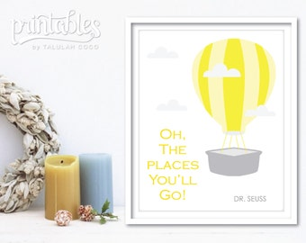 Dr Seuss Quote Oh the Places You'll Go, Dr Seuss Baby Shower Gift, Dr Seuss Nursery Decor Gender Neutral Gray and Yellow, Dr Seuss Printable
