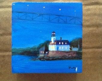 "Original Acrylic Painting on wooden block Rose Island Lighthouse at Night , 2.75"" x 2.75"" x .6""d, Newport Rhode Island RI Newport Bridge art"