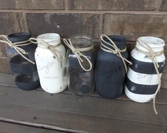 Set Mason Jar Vases, Chalk Painted Distressed Jars, Chabby Chic Jars, Centerpieces, Wedding Decor, House Warming Gift (#364)