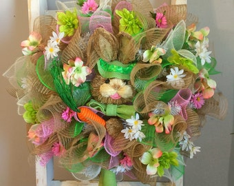Deco Mesh Easter Wreath, Easter Bunny Wreath, Easter Wreath, Deco Mesh Spring Wreath, Burlap Easter Wreath, Burlap Spring Wreath #11