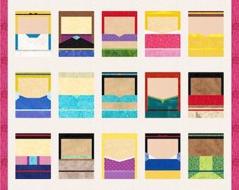 Disney Princesses - 15 Quilt Block Patterns - Foundation Paper Piece Patch - PDF Download - Walt Disney - Snow White, Cinderella, Elsa, Anna