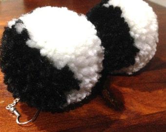 Black & white pompom earrings - AFL Collingwood theme