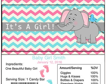 Elephant Baby Shower Candy Bar Wrapper