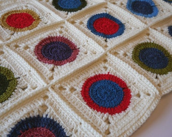 Crochet blanket granny circle in a square, crochet throw blanket, cream blanket, granny square blanket