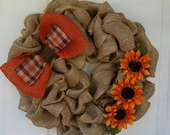 Burlap Wreath / Fall Wreath / Autumn Wreath / Fall Burlap Wreath / Thanksgiving Wreath / All Year Wreath