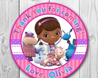 DIGITAL FILE Doc McStuffins Thank You Tag - Very Hungry Caterpillar Stickers - Doc McStuffins Party - Doc McStuffins Printables