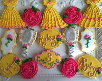 12 beauty and the beast inspired cookies