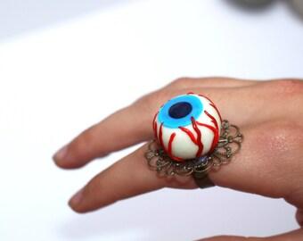 Halloween ring eyeball ring horror ring goth ring halloween fancy dress ring creepy ring gothic jewellery horror ring halloween accessory
