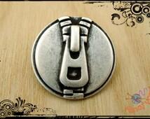 5 metal buttons, fancy zipper mm. 23