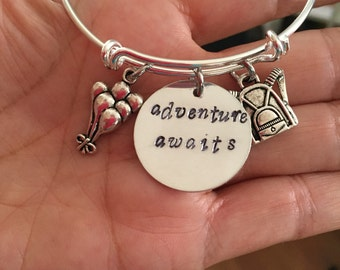 """adventure awaits bracelet with balloons bacpack and hand stamped """"adventure awaits""""charms"""