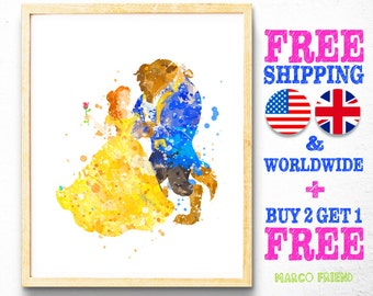 Watercolor Painting, Wall Art, Poster, Print, Beauty and the Beast, Disney, Princess, Belle [mf44]