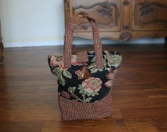 Floral Tweed Carpet Bag
