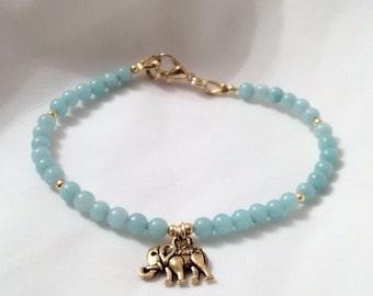 Bracelet - Elephant Bracelet - Amazonite Bracelet with Elephant Charm -