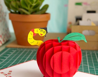 Teacher's Apple Pop Up Card, Teacher Apple Card, Card For Teacher, Thank You Teacher, Teacher Appreciation Card, 3D Apple Card, For Teacher