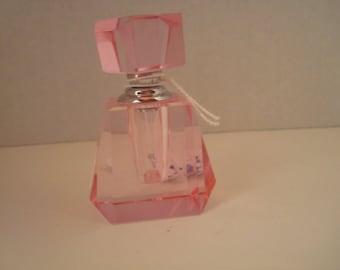 Vintage signed pink crystal perfume bottle