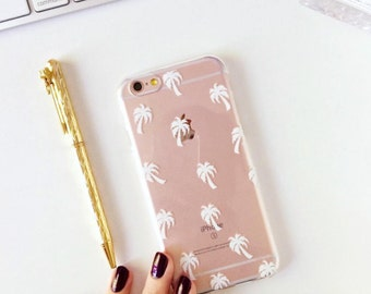 Palm Trees Clear Phone Case - Clear Case - For iPhone 8, 8 Plus, X, iPhone 7 Plus, 7, SE, 5, 6S Plus, 6S,6 Plus, Samsung S8,S8 Plus,