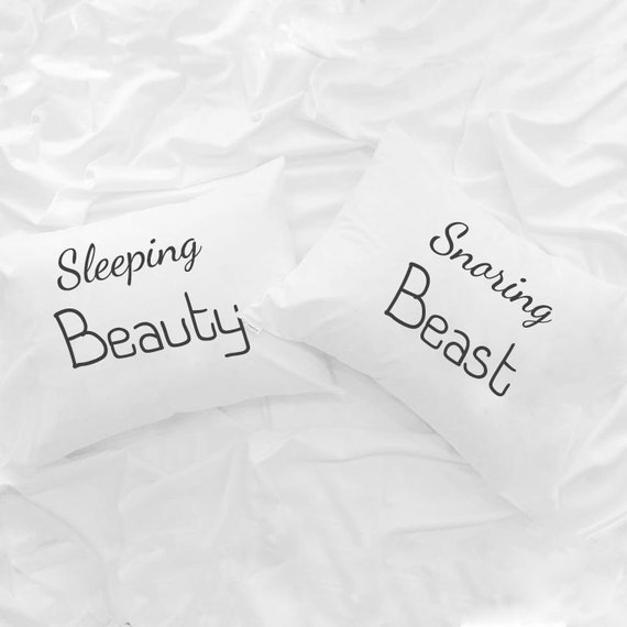 Like this item? & Sleeping Beauty Snoring beast couple pillowcases His and Hers pillowsntoast.com