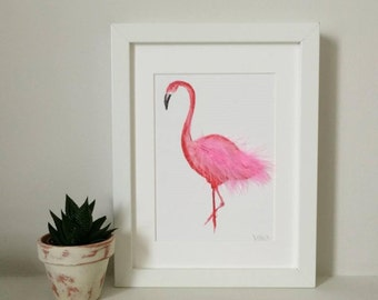 A5 Pink Flamingo Art Print - Hand Finished