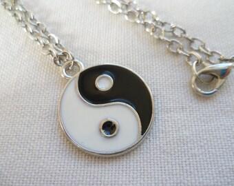 Yin yang necklace,yin yang pendant,gift,black and white,balance jewellery,yoga jewelry,handmade,minimalist,simple jewellery,zen