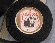 Vintage Millinery Petersham, Black, One Inch Wide, 17 Yards. Panda Brand. Made in England