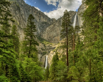 Yosemite Falls, Camp 4, California, Pine Tree, Waterfall, Mountain, Clouds, Sky, Water, Cliff