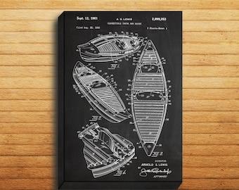 CANVAS - Canoe Patent, Canoe Poster, Canoe Blueprint,  Canoe Print, Canoe Art, Canoe Decor