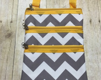monogrammed crossbody purse yellow and gray chevron