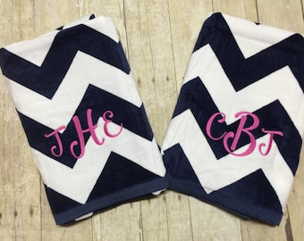 FREE MONOGRAM, Monogrammed Embroidered Beach towels personalized beach towel polka dot chevron style swimwear