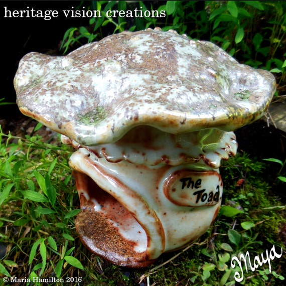 Toad House 6 Wood Fired Pottery Mushroom Toad By