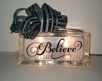 Believe Glass Block, Christmas Glass Block, Believe Lighted Glass Block, Believe Night Light, Christmas Decor,