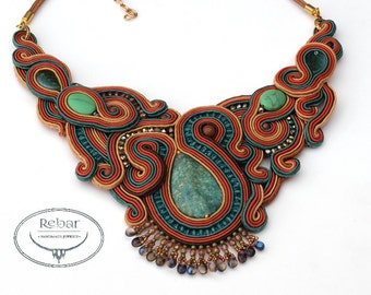 Earth Tones Necklace, Amazonite Necklace,  Unique Big Necklace, Soutache Necklace, Soutache Jewelry, Beadwork Necklace, Collana Soutache,