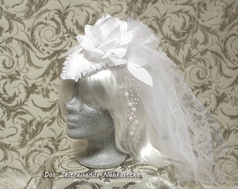 Large Fascinator, White, wedding, Gothic