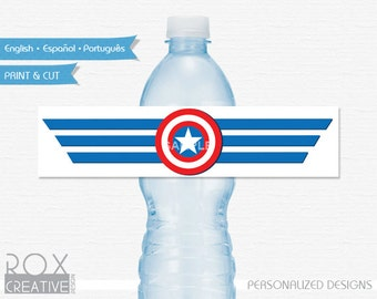 Captain America Water Labels, Captain America Printable Labels, Instant Download