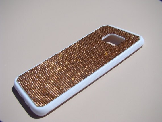 "Galaxy S7 ""Edge"" Rose Gold Diamond Crystals on White Rubber Case. Velvet/Silk Pouch Bag Included, Genuine Rangsee Crystal Cases."