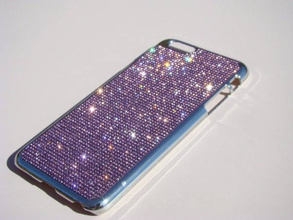 iPhone 6 Plus / 6s Purple Amethyst Rhinestone Crystals Silver Chrome Case,  Velvet/Silk Pouch Bag Included, Genuine Rangsee Crystal Cases.