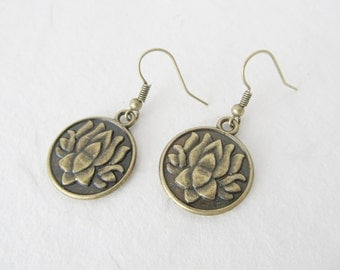 Lotus earrings, lotus jewelry, bronze earrings, yoga earrings