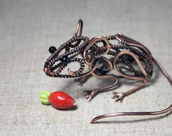 Mouse Sculpture - Mini real wire wrapped mouse - Metal mouse