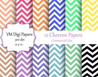 Chevron Digital Paper, Chevron Collage Sheet, Digital Scrapbook Paper, Digital Paper, Commercial Use, Chevron Background, Paper, Background