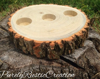 Wood Slice Centerpiece - Rustic Wedding Centerpiece - Cabin Decor' - Wood Candle Holder -Rustic Candle Holder