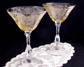 Vintage Cambridge Wildflower Champagnes / Tall Sherbets Acid Etched Stemware Set of Two